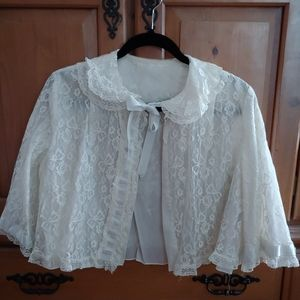 Vintage White Ivory Lace Blue Ribbon Shrug Top